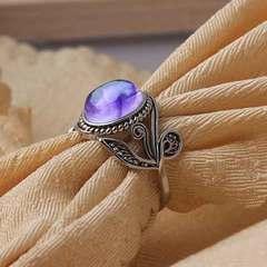New natural amethyst ring European retro Thai silver diamond ring silver bracelet Purple drill No. 6