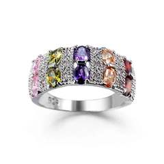 Zircon jewelry is popular in Europe and America Platinum, mixed colors No. 6