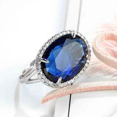 New European and American zircon ring jewelry creative opening ring ring female bracelet sapphire Opening adjustable