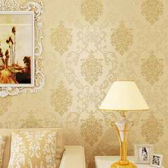 Simple European 3d self - adhesive non - woven wallpaper Damascus TV background wallpaper beige 3.5M