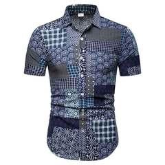 Men's shirt 2019 summer wear new thin print national style casual beach short sleeve shirt men 0-11 M