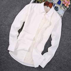 2019 hot style men's business plus-size casual long-sleeve shirt white M