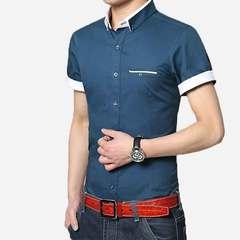 Summer short-sleeved men's shirt pure cotton slim business wear - iron young men's thin shirt sapphire M