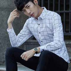 Men's long-sleeved shirts go with the new 2019 plaid slim young men's shirt white S