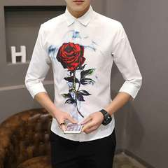 New men's shirt middle sleeve seven - minute sleeve fashion slim shirt men's shirt Rose 7 S