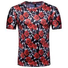 Men's short-sleeved T-shirt, rose 3D print, large size round collar base shirt, men's fashion Graph coloring M