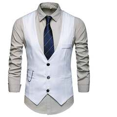 New men's suit waistcoat business slim plus-size single-breasted formal vest jacket white S