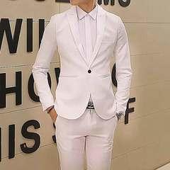 New fashion casual small suit men Korean version slim one-button suit men's jacket jacket white M