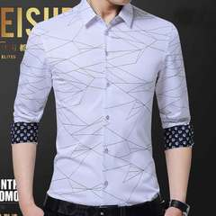 New men's long sleeve shirt men's leader line men's shirt shirt fall new business shirt men white M