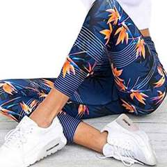 New yoga pants printed leaf quick drying breathable fitness pants slimming hip lift leggings blue S