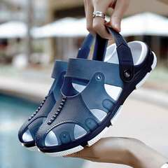 New men's baotou sandals are perforated breathable beach slippers and non-slip outdoor crocs Hester prynne 39
