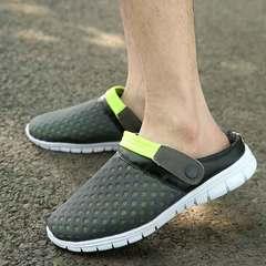 Lovers net cloth sandals half bag leisure bird's nest crocs shoes men and women half slippers Gray, green 36