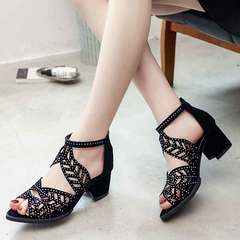 New women's chunky and high-heeled sandals with cut-out fish-tip Roman shoes black 35