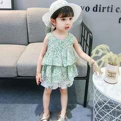 2019 new Korean version of children's summer dress for children's green leaf shorts for children green 80cm (recommended height: 75cm)