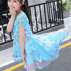 2019 new all-purpose summer dress for girls blue Size 110 (recommended height: 100 cm)