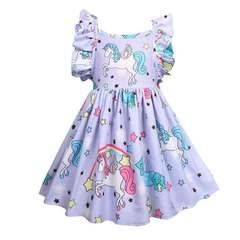 New summer children's wear unicorn pink children's dress girl violet 100 yards