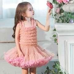 Girl sling shag skirt summer vest mesh gauze skirt princess skirt children's dance skirt pink 80cm