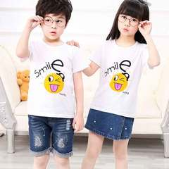 New summer short-sleeved t-shirts for boys and girls White face 90cm