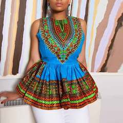 European and American women's national style waist ruffled blouse sleeveless printed dress L blue