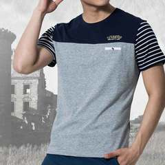 Men's cotton round collar casual youth men's cotton short-sleeved T-shirt new 2019 summer gray m