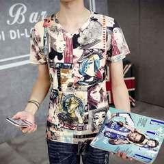 Men's summer men's short-sleeved T-shirt men's half-sleeve v-neck 3D slim 3DND m polyester spandex