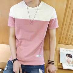 Men's short-sleeved T-shirt men's round neck half-sleeve shirt youth men's summer T-shirt pink M (115 kg) polyester spandex