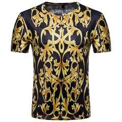 Men short-sleeved T-shirt digital printing European court style plus-size shirt men Graph coloring M polyester spandex