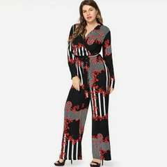 Large European and American women's deep V print trousers lace-up jumpsuit S Bright red