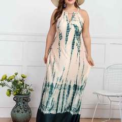 2019 plus-size women's beach dress with sleeveless halter and plunging neck S Graph coloring
