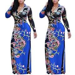 European and American women's new plus-size dress long sleeve v-neck waist dress fat MM 2xl blue