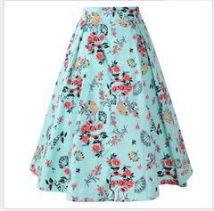 Summer new women's vintage pleated skirt big print long skirt women Sky blue flower S