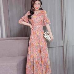 Summer temperament broken flower skirt summer fashion mom dress chiffon long dress M pink
