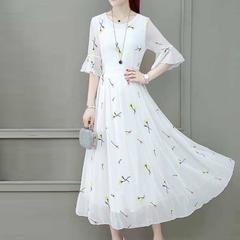 New summer waist chiffon dress ladies white popular skirt temperament slim skirt m Small yellow flowers