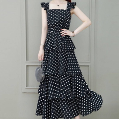 Chiffon point dress new fashion fashion women's cake high-end temperament skirt M black