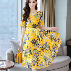 Floral chiffon dress and maxi dress 2019 summer look slim and long beach dress m yellow