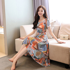 Summer 2019 new women's chiffon dresses are stylish, slim and slim with floral prints m Graph coloring