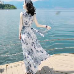 Summer 2019 women's dress slim sleeveless chiffon dress dress beach resort dress M Graph coloring