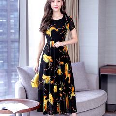 Long summer dress medium - aged women's dress size above the knee M yellow