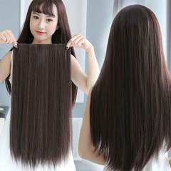 6 clips 60cm straight hair, 6 clips long straight hair Natural black All code