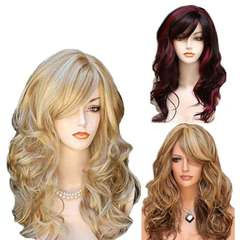 Multi-color long curly hair synthetic fiber headpiece for women in Europe and America brown All code