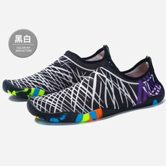 Breathable and non-slip wading shoes outdoor quick-dry and leaky beach sports shoes swimming shoes Black and white 35