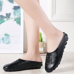 Leather mom slippers color retro hollow flat bottom ethnic style slippers female oversize shoes black 35