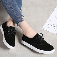 New small white shoes for ladies leather flats for ladies casual shoes slipper lace-up white sneaker black 35