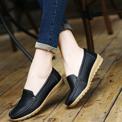 New leather round head casual shoes for the elderly, women's low rib flat heel shoes black 35