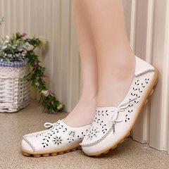 Mom shoes leather crocs low-top flats beanie leisure nurse shoes large lazy shoes beige 35