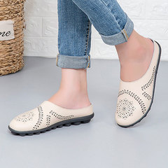New slippers mom shoes casual leather low upper flat beanie women's shoes oversize cross-border beige 35