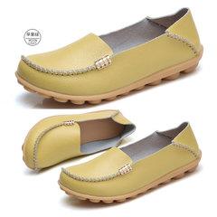Women's flat shoes leather doudou shoes women's large shoes soft shoes fashion women's shoes Apple green 34