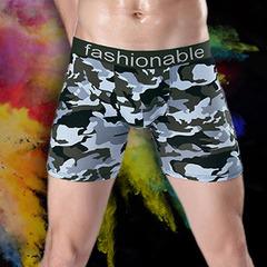 Men's sports lengthened camo printed cotton boxer pants running anti-wear leg five-minute pants cp06uff1aB L