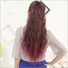 Bundled horsetail corn long curly hair fluffy wigs fireworks wig ponytail black Bundle horsetail