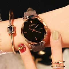 Women's Fashion Rhinestone Watch Student Quartz Leather Strap Waterproof Watches Gray belt black surface Brand: LSVTR